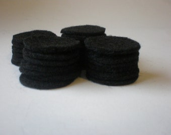200 - 1 Inch Die Cut Felt Circles, Black OR Your choice of color