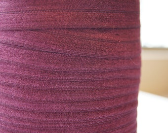 "5/8"" Inch Fold Over Elastic - 5 Yards of Merlot Mist  FOE"