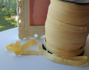 "5/8"" Inch Fold Over Elastic - 5 Yards of Soft Canary FOE"