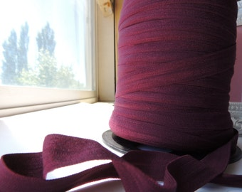 "5/8"" Inch Fold Over Elastic  - 5 Yards of Burgundy FOE"