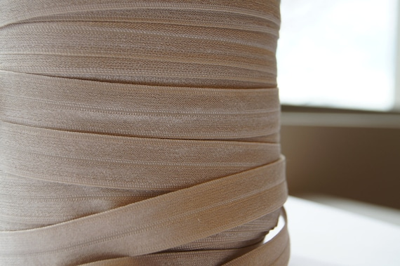 """5/8"""" Inch Fold Over Elastic - 10 Yards of Champagne FOE"""