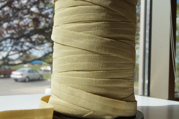 "5/8"" Inch Fold Over Elastic -- 5 Yards of Light Green Olive FOE"