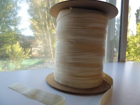 "5/8"" Inch Fold Over Elastic - 5 Yards of Cream FOE"