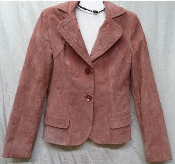 Vintage Cherokee Dusty Rose Suede Fitted Jacket Size XS