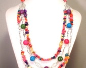 Multi Colored Jade and Howlite Three Strand Necklace