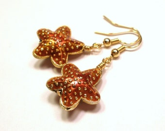 Starfish Earrings - Cloisonne Starfish Earrings - Cinnamon