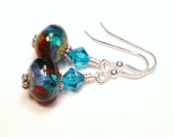 Blue Red and Teal Lampwork and Crystal Earrings