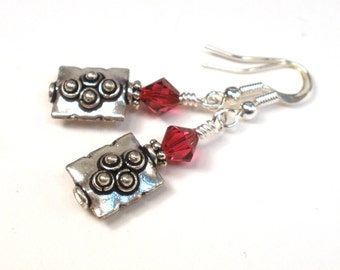 Silver Earrings - Silver and Red Crystal