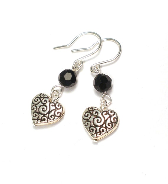 Earrings - Silver Heart and Black Crystal