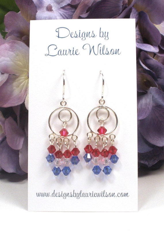 Patriotic Earrings, Fourth Of July, Red White and Blue Crystal Sterling Silver Earrings