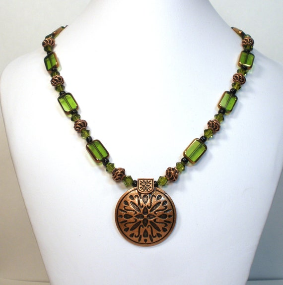 olive green necklace and copper