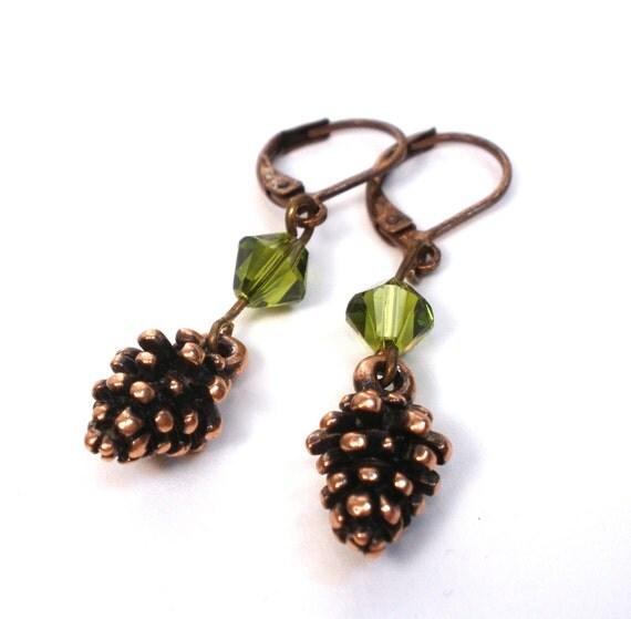 Copper Pinecone and Green Crystal Earrings