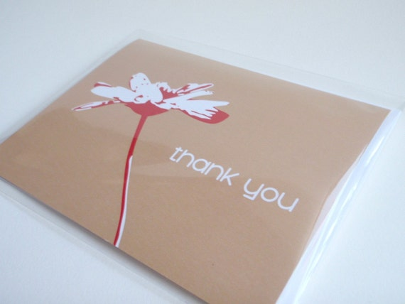 Thank You Card with Delicate Flower Design