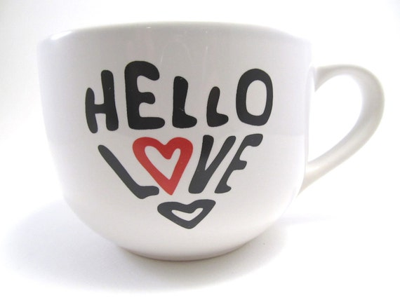 Hello Love - Extra Large Screen Printed Cappuccino Mug