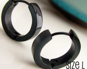 Jet Black Hoop Earrings for Men - Simple Guys Cyber Corp Gothic Punk Male Rock - Stainless Steel Large - 192