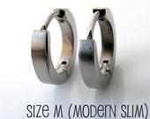 Mens Earrings Silver Huggie Hoop - Ear Cartilage Piercing - For Guys Hip Hop Medieval Punk Rock - Stainless Steel - Slim BRUSHED no.134