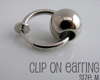 Ear Cuff and Clip On SINGLE Earring - For ear cartilage or earlobe or Helix or Rim or Nose - Non Pierced Silver Hoop For Men (577)