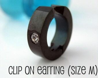 Midnight black clip on hoop earring, mens earrings, diamond cz accent hoop earring, stainless steel fake earring, clip on hoop, 579C