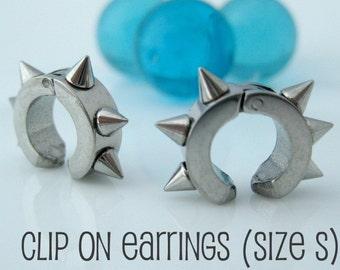 Industrial thorn clip on hoop earrings, men's earrings hoops, ear cuff, fake earring, non piercing hoop earrings, stainless steel, 579B