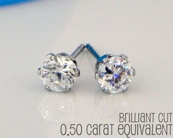 Clarion diamond cz stud earrings, men's stud earrings, diamond cz solitaire stud earrings, mens earrings, rhinestone stud earrings, 513 4mm