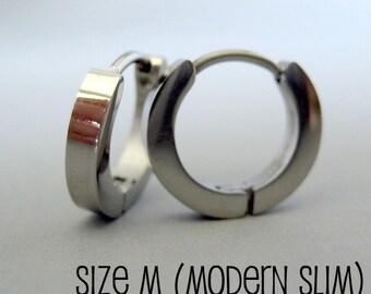Mens Earrings Silver Huggie Hoop - Ear Cartilage Piercing - For Guys Hip Hop Medieval Punk Rock - Stainless Steel - Slim POLISHED no.130