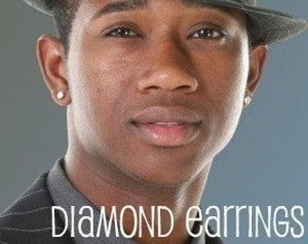 Promotion, mens stud earrings, one carat diamond earrings CZ, masculine style for guys, clear diamond CZ, mens earrings 514