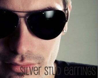 Men's stud earrings - men's earrings - steel flat disc stud earrings - stainless steel stud earrings - 7mm round stud - nail it down  420