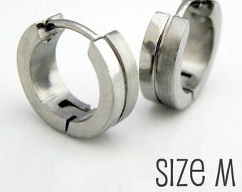 Mens Silver Huggie Hoop Earrings - Ear Cartilage Piercing - For Guys Hip Hop Medieval Punk Rock - Stainless Steel Medium HalfHalf no.153B