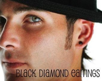 Faceted black diamond cz stud earrings, men's stud earrings, black diamond cz, black solitaire studs, mens earrings, cartilage earring, 422