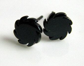 Forged in fire blade stud earrings, men's stud earrings, black steel stud earrings, saw blade stud earrings, stainless steel earrings, 417