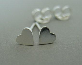 Sterling Silver Tiny Heart Stud Earrings, 460
