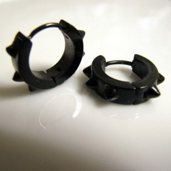 Mens Earrings Black Hoop - Earrings for Men or Rockers - (Medium13mm) (no.158)