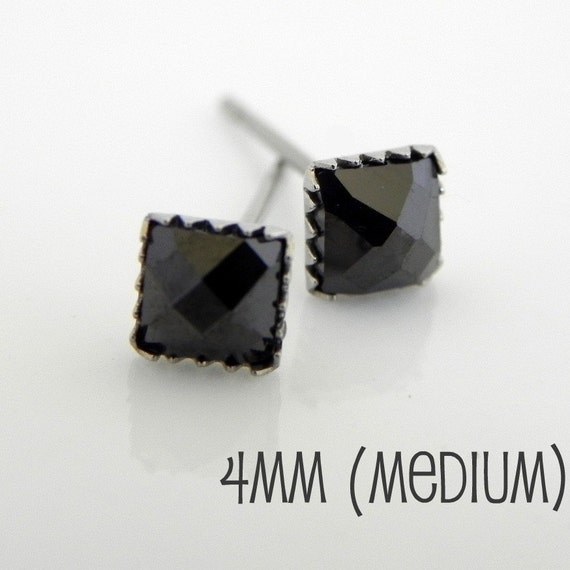 Men s stud earrings square black diamond cz studs black