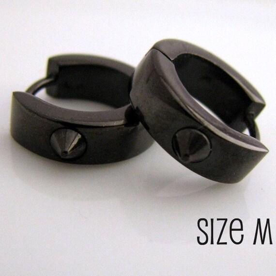 Mens Spike Earrings Black Huggie Hoop - Ear Cartilage Piercing - Guy Cyber Corp Gothic Punk Rocker - Stainless Steel - Medium no.152