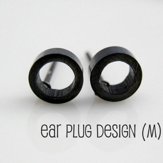 s circle o stud earrings black steel earrings