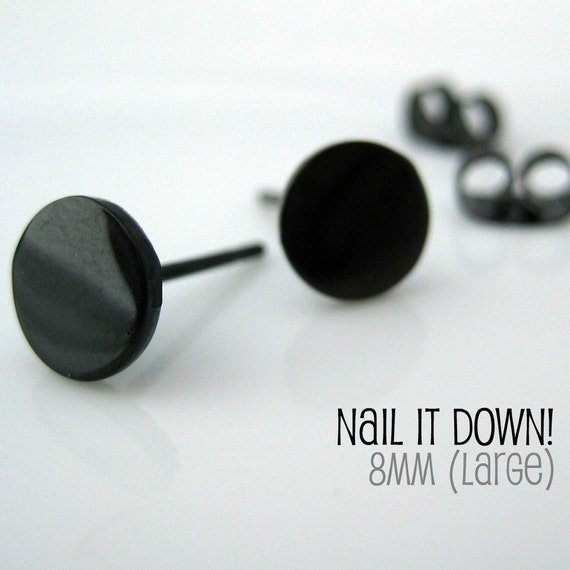 Men's earrings black stud, jet black stud earrings, earrings for men, fake plug, fake gauge, black steel studs, nail it down size L, 420L
