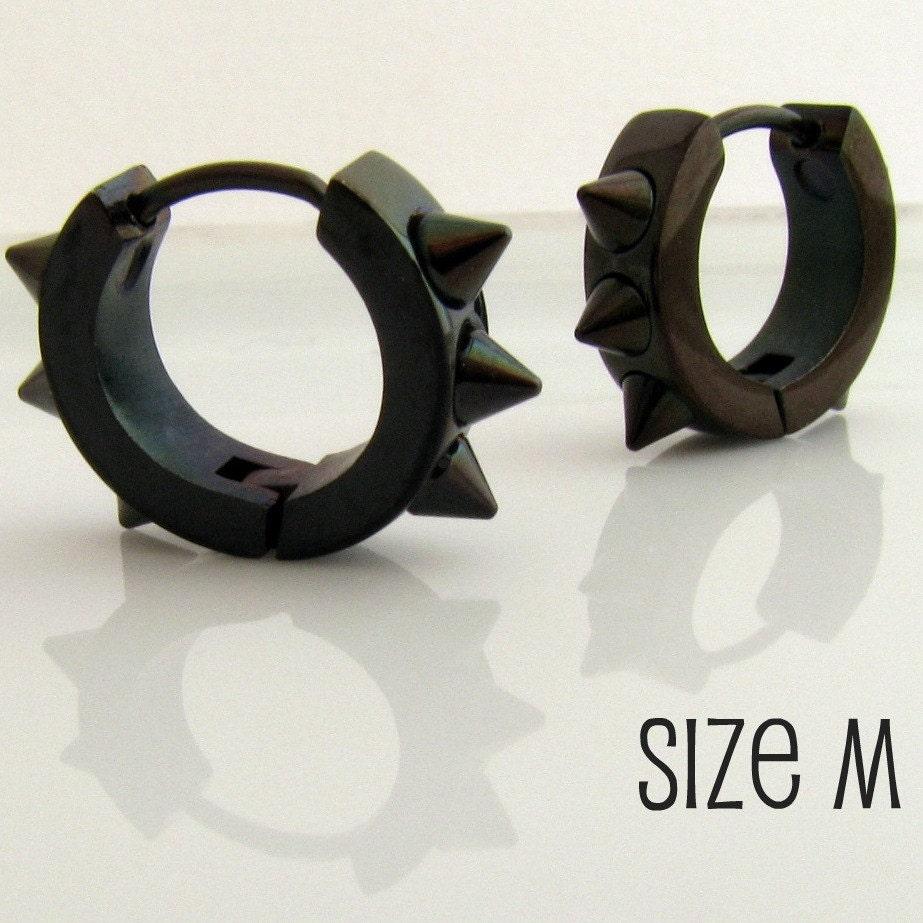 Mens Earrings Black Hoop Earrings for Men or Rockers