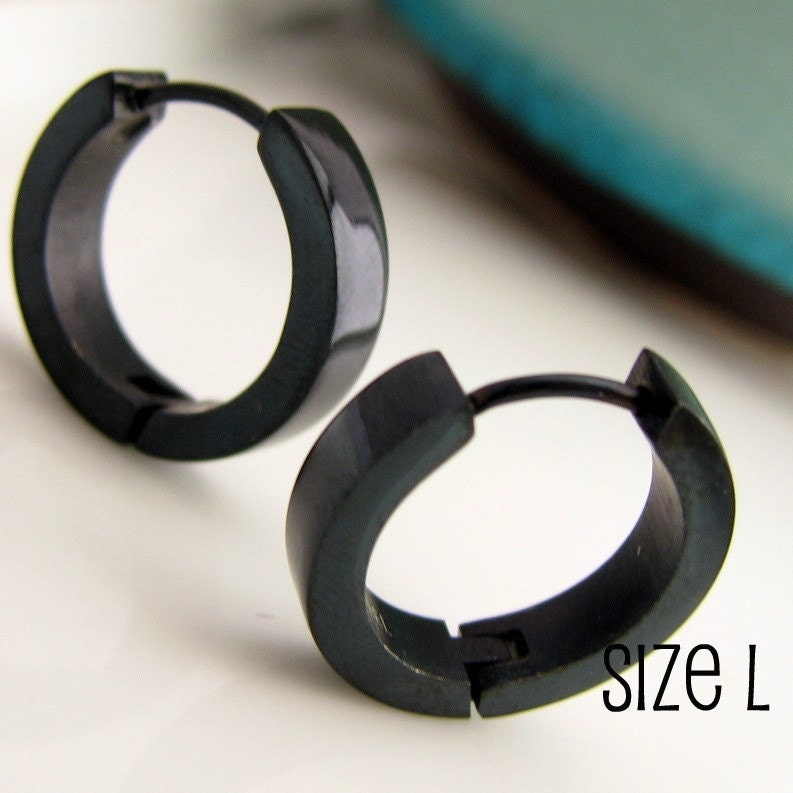 Jet Black Hoop Earrings for Men Simple Guys Cyber Corp
