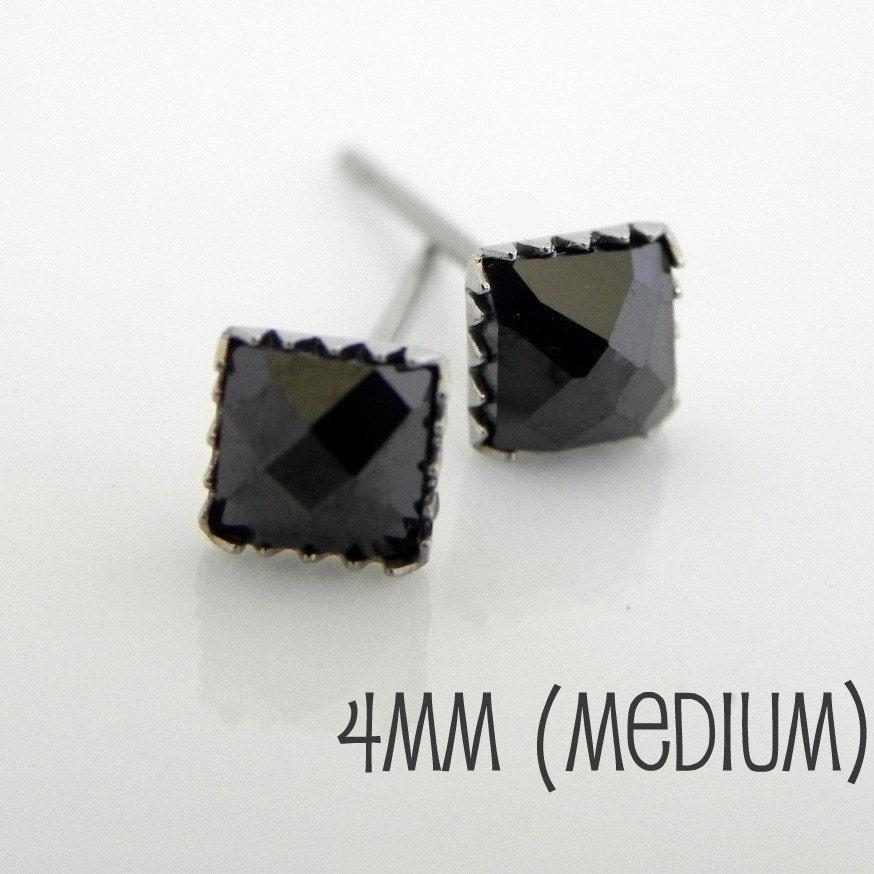 Men S Stud Earrings Square Black Diamond Cz Studs Black