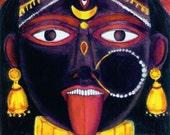 Goddess Kali Face Blank Greeting Card