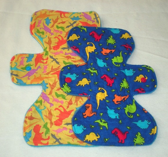 Double Dinosaurs - Mixed Sizes and Absorbency  - Cloth Pad Set