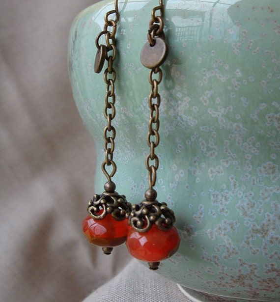 Lady Cora Drop Earrings, Luscious Faceted Orange Czech Beads w-Tan Accents & Antique Brass Chain dangle, Downton inspired