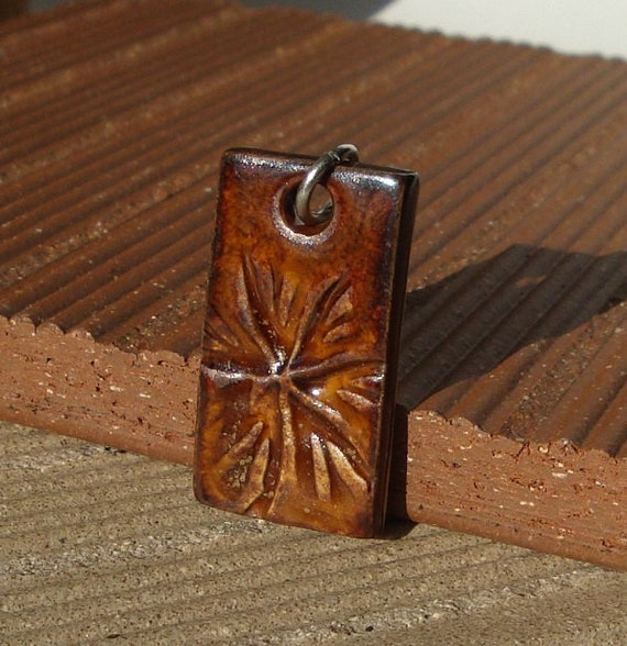 Smokey Amber Rectangle Ceramic Pendant, jewelry, porcelain clay, like tooled leather, great for men too