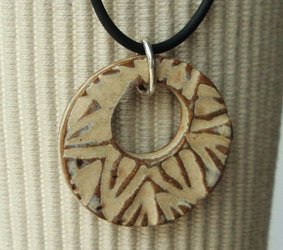Buttercream Stoneware Clay Ceramic pendant, clay pendant necklace, original handcarved design