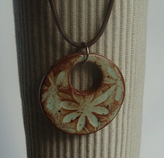 Soft Pistachio Field of Flowers Mod Ceramic Pendant, clay pendant focal bead, handmade from stoneware clay