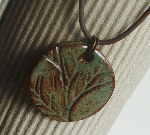 Sage and Sepia Eco stoneware handmade ceramic pendant, perfect with any skin tone
