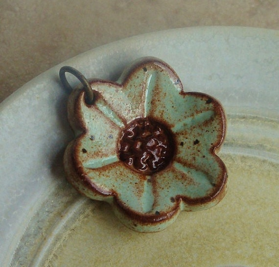 Pistachio Mint and Sepia Brown Flower Ceramic Pendant, stoneware clay, for your feminine side