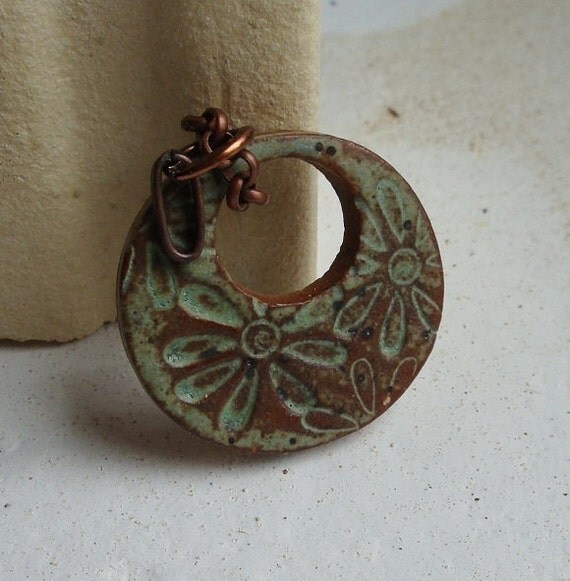 Rustic Sage Field of Flowers Mod Ceramic Pendant, handmade from stoneware clay