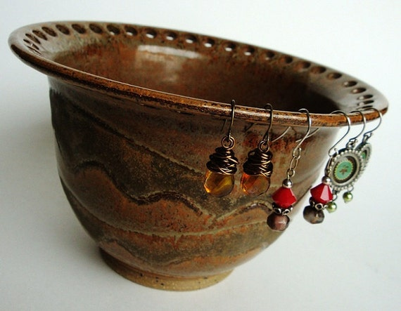 Ceramic Jewelry Bowl - Earring Holder - In Stock - Handmade ceramic pottery in gorgeous copper brown by Artgirl56