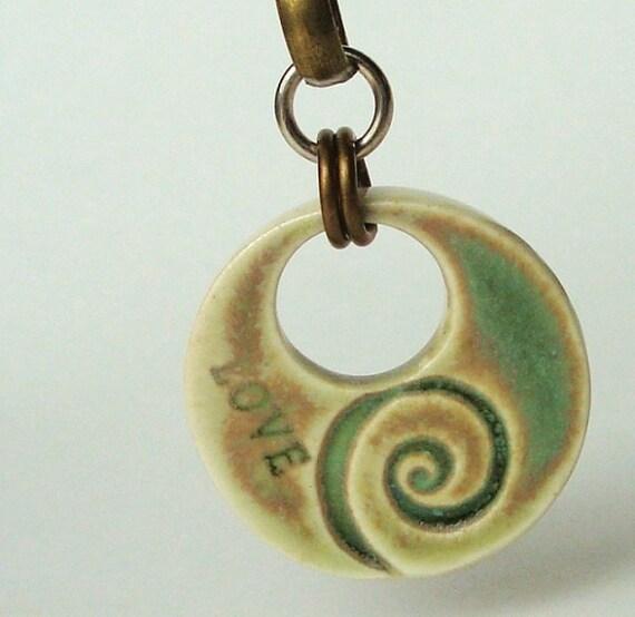 Willow Green Swirl Love ceramic pendant, pretty, feminine, handmade from porcelain clay